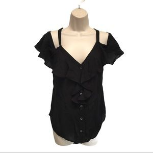 Veronica Beard Black Silk Ruffle Blouse Top 12